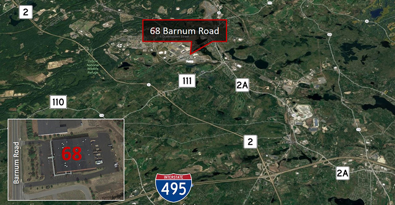 flex warehouse commercial property sale lease boston 68 Barnum Road Devens MA aerial web